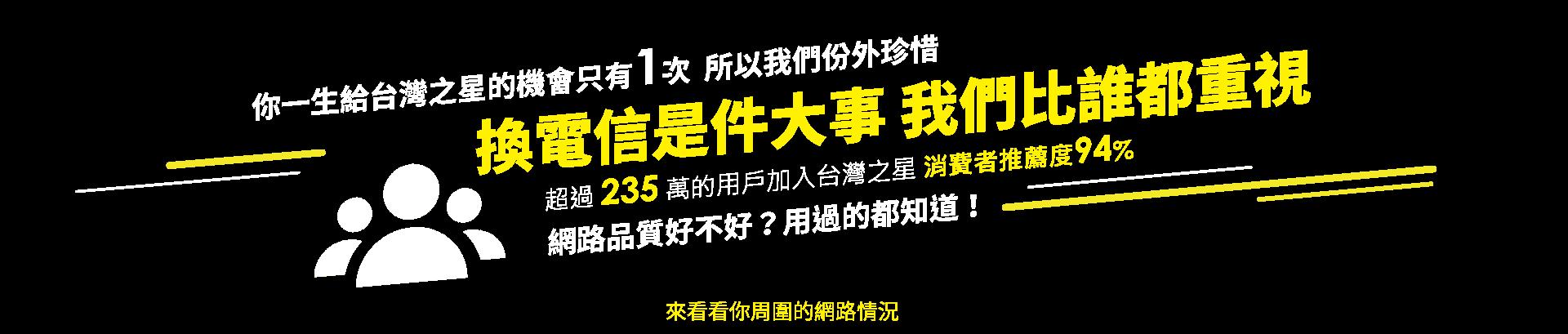 你一生給台灣之星的機會只有1次,所以我們份外珍惜,換電信是件大事 我們比誰都重視,超過 235 萬的用戶加入台灣之星,消費者推薦度94% ,網路品質好不好?用過的都知道!來看看你周圍的網路情況