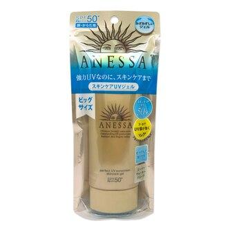 SHISEIDO資生堂 安耐曬 金鑽高效防曬凝膠A SPF50+PA++++90g   質地輕透水感,保濕而不黏膩的地表超強美肌防曬凝膠以一般防曬產品容易脫落為開發概念,研發出UV防禦膜遇汗可當作粧前隔離乳使用,只需洗面乳或沐浴乳即可洗淨