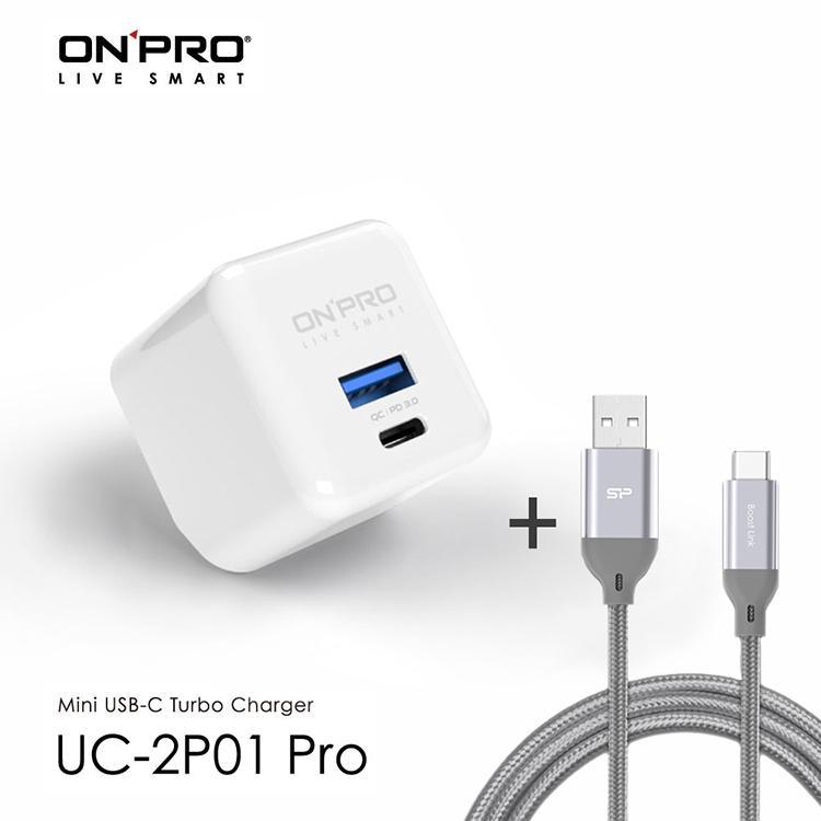 ONPRO UC-2P01 PRO 30W 雙孔快充急速PD充電器 冰雪白+Type-C 3A快充編織傳輸線1M 灰 | 最新 PD3.0 Power Delivery 30W快充支援iPhone 20W, iPad Pro 30W快充USB-A支援 QC 4.0 30W快充支援華為FCP、SCP快充,向下支援QC3.0全機種對應 – 筆電、Switch、平板、手機Type-C線為高密度網狀尼龍編織線3A大電流且支援快充
