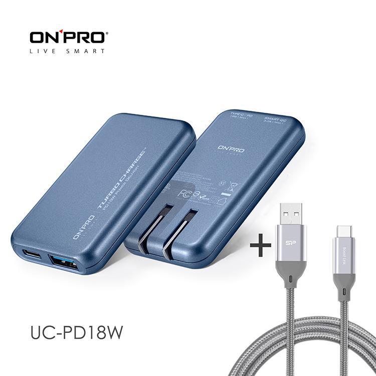 ONPRO UC-PD18W 3.4A雙孔快充超薄旅充頭 鈦空藍+Type-C 3A快充編織傳輸線1M 灰 | PD3.0+QC3.0雙模式19W快充支援iPhone19W 快充Type-C/PD 19W 快充USB-A QC3.0 19W快充雙孔總輸出最高3.5AType-C線為高密度網狀尼龍編織線3A大電流且支援快充