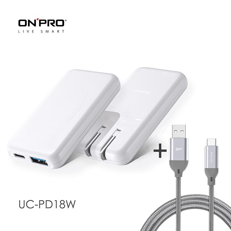 ONPRO UC-PD18W 3.4A雙孔快充超薄旅充頭 白+Type-C 3A快充編織傳輸線1M 灰   PD3.0+QC3.0雙模式19W快充支援iPhone19W 快充Type-C/PD 19W 快充USB-A QC3.0 19W快充雙孔總輸出最高3.5AType-C線為高密度網狀尼龍編織線3A大電流且支援快充