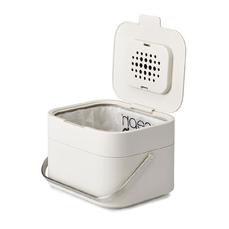 Joseph Joseph 智慧除臭廚餘桶 白色   4公升容量,輕巧便利為環境著想的尖端設計第一款會呼吸的廚餘桶