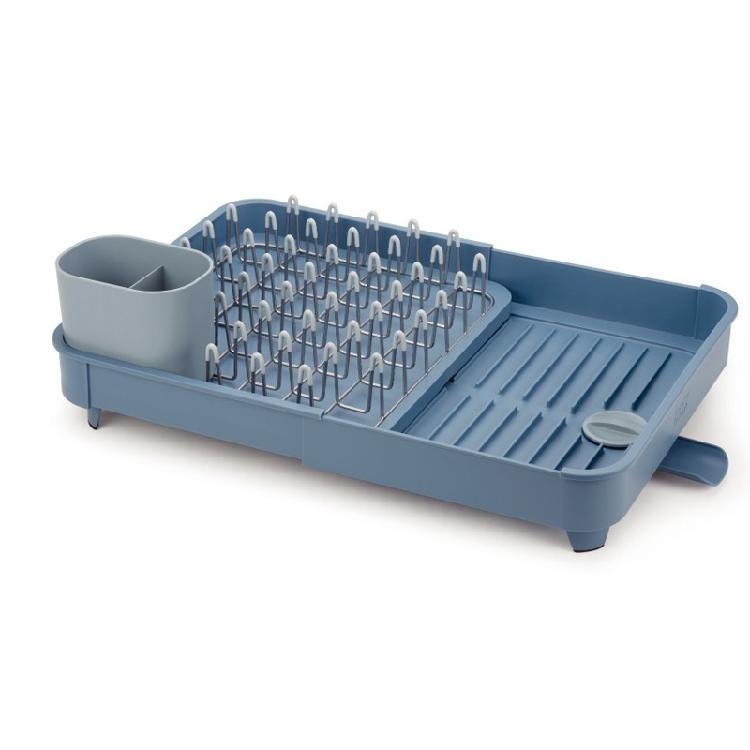 英國創意餐廚 Joseph Joseph 可延伸杯碗盤瀝水組 天空藍 | 適用杯碗盤瀝乾放置軟質Nano漆,保護碗盤不刮傷產品可拉長使用