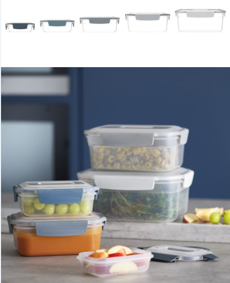 英國創意餐廚 joseph joseph 密封收納盒五件組 天空藍 | 包括1.9 LxI ,1.3 Lx1,900 ml x 2,500 ml x l盒蓋、盒身可堆疊收納,PP盒身不含BPA深淺藍色的盒扣、盒環,方便辨識四邊防漏的盒扣設計天空藍系列提供一系列收納與餐廚生活提案