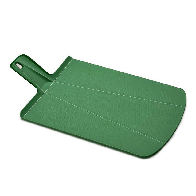 英國創意餐廚 joseph joseph 輕鬆放砧板 大 森林綠   攤平可作為砧板可形成畚箕形狀,傾倒食材更方便砧板背面及把手處有止滑膠條,使用順手彈性止滑設計
