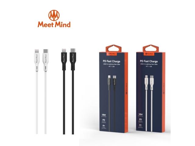 【Meet Mind】Type-C to Lightning PD 快速充電傳輸線 2.2M/220cm 黑色   與iOS系統同步升級,精準適配iOS設備支援iPhone PD 18W-20W快充充電+傳輸二合一,同步進行高效省時