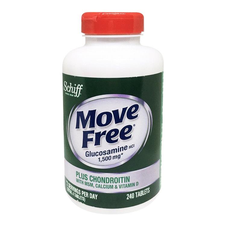 Move Free 葡萄糖胺+軟骨素+MSM+維生素D+鈣錠 240錠 | 詳細商品介紹請查閱官網每天行動力的關鍵每瓶約可食用2個月鈣有助於維持於骨骼與牙齒的正常發育及健康