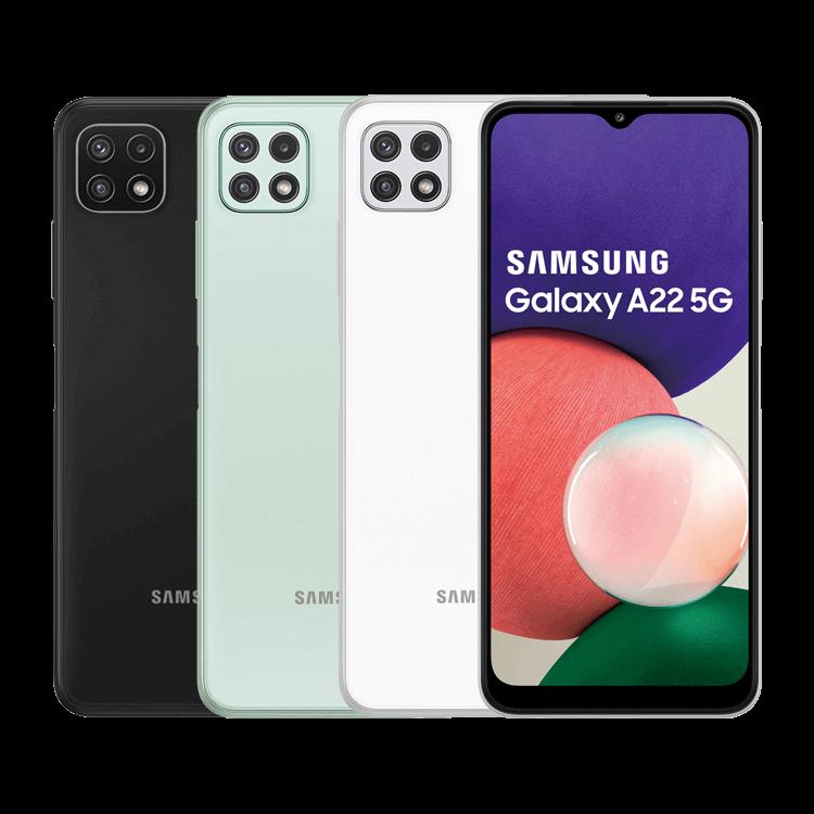 SamsungGalaxy A22 5G | 預購商品,依原廠到貨時間為準,請您耐心等候螢幕6.6吋/相機(主)最高48MP三鏡、(前)8MP單鏡/4GB RAM+64GB ROMMTK天機700處理器/電池容量5,000mAh/5G+4G雙卡雙待90Hz 螢幕更新率支援15W快充側鍵指紋辨識支援記憶卡(最大1TB)