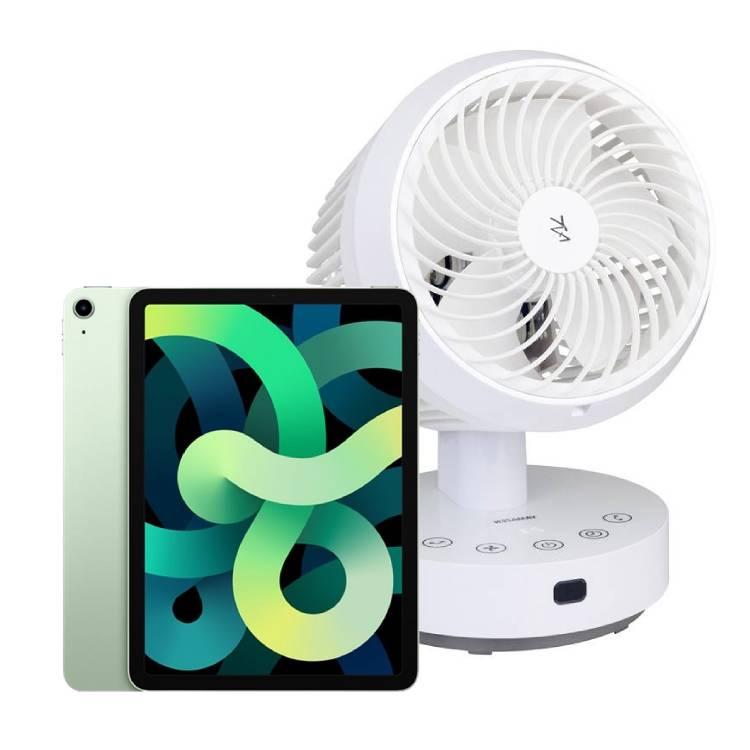Apple iPad Air 2020 10.9吋 WiFi 64GB 不挑色+山善 YAR-JSN18T 遙控循環扇   Apple iPad Air 2020 10.9吋 WiFi 64GB $18,000,YAMAZEN 山善 YAR-JSN18T 遙控循環扇 $1,140 (原價$2,280)Apple iPad iPadOS強化iPad的獨特功能Apple iPad A14仿生晶片帶來令人驚豔的效能提升遙控循環扇左右各50度上下90度遙控循環扇靜音約23dBApple iPad 兼具電腦的威力商品數量有限,售完為止
